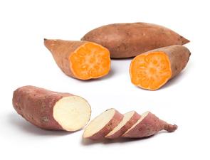 Oranje en witte zoete aardappels